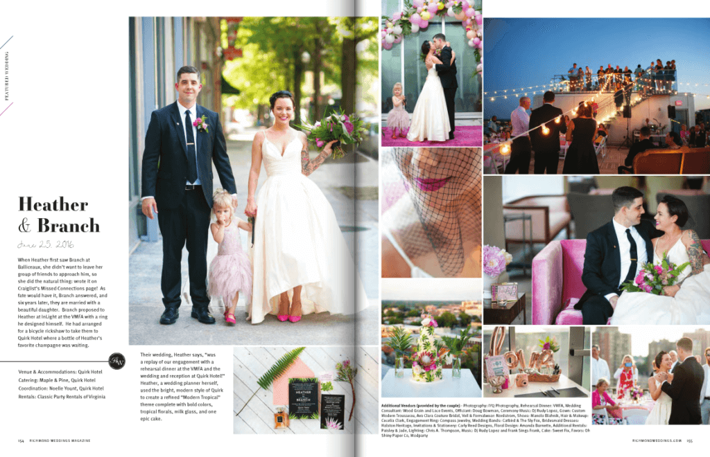 Richmond Weddings Featured Wedding at Quirk Hotel