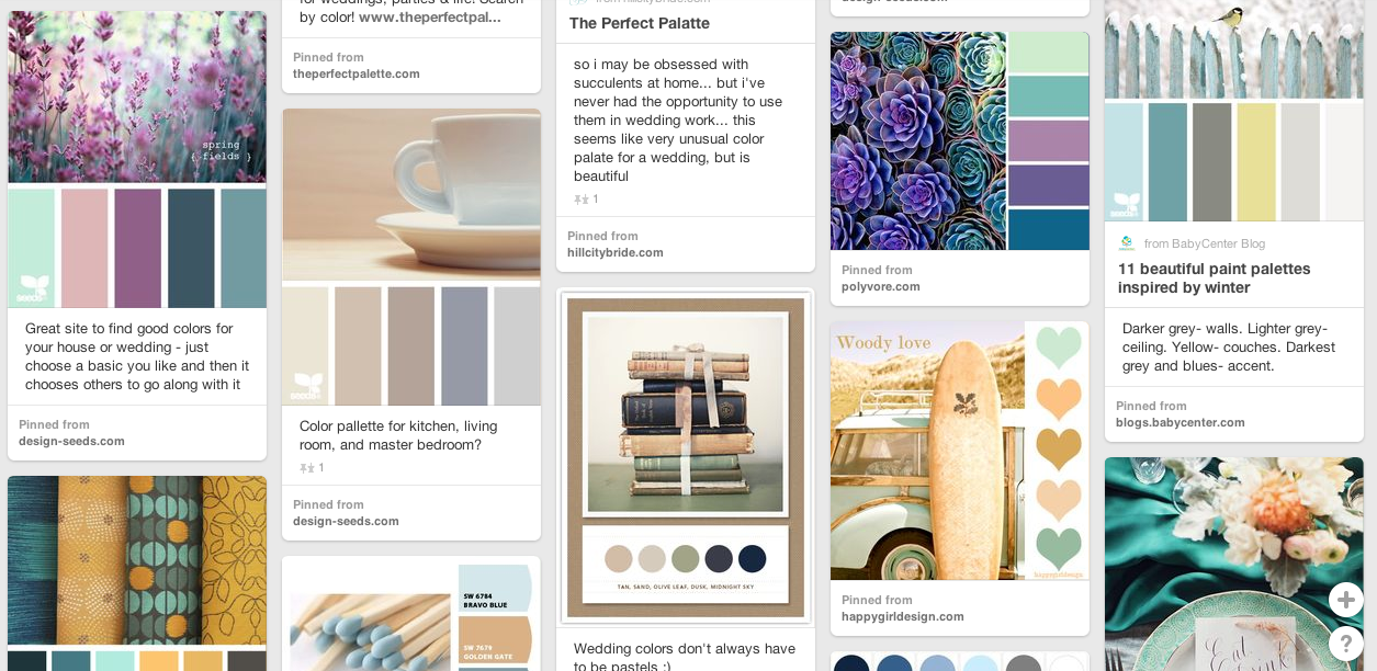 The color board on the RVAWeddings Pinterest page is probably our most useful. Make one similar that is full of color palates that are appealing to you, and you'll be able to narrow down your wedding colors.