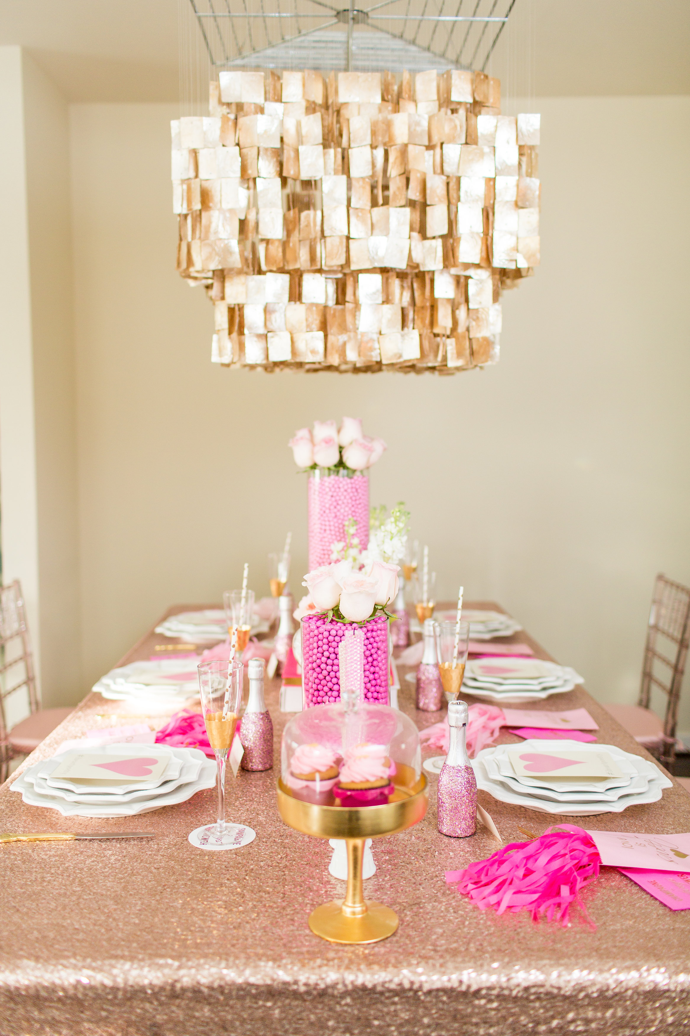 Champagne sequin linen tablescape by Posh PR Photographed by Shalese Danielle Photography