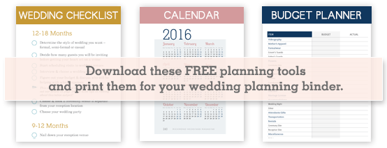 Richmond Weddings Magazine Download these FREE planning tools and print them for your wedding planning binder.