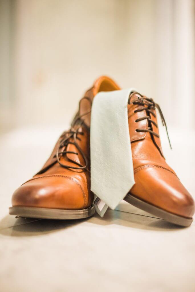 Leather shoes and tie for groom of Richmond wedding at The Bolling Haxall House.